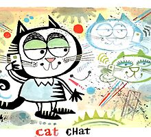 Cartoon cat chatting on mobile phone illustration by MrCreator