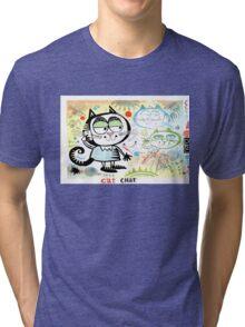 Cartoon cat chatting on mobile phone illustration Tri-blend T-Shirt