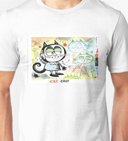 Cartoon cat chatting on mobile phone illustration Unisex T-Shirt
