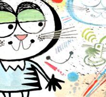 Cartoon cat chatting on mobile phone illustration Sticker