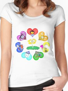 Undertale - Hearts with Characters Women's Fitted Scoop T-Shirt