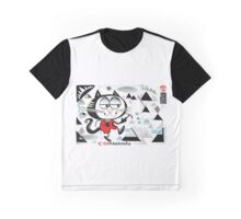 Cartoon cat climbing mountain illustration.  Graphic T-Shirt