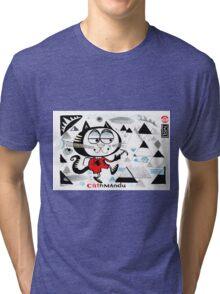 Cartoon cat climbing mountain illustration.  Tri-blend T-Shirt