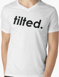 tilted. (Black Lettering) Mens V-Neck T-Shirt