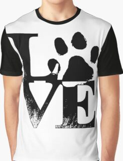 """Cute """"Love"""" with Dog pawprint Graphic T-Shirt"""