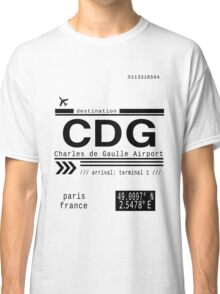 CDG Charles de Gaulle Airport Paris France Call Letters Classic T-Shirt