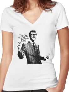BUDDY HOLLY : THE DAY THE MUSIC DIED Women's Fitted V-Neck T-Shirt