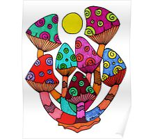 Full Moon Mushrooms Poster
