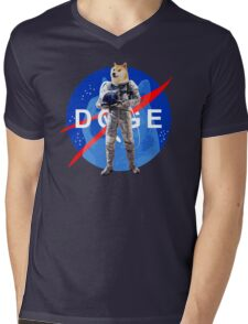 Doge Astronaut In Space Mens V-Neck T-Shirt