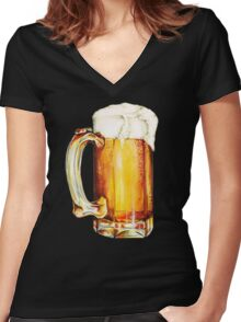 Bier Pattern Women's Fitted V-Neck T-Shirt