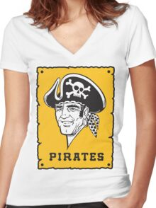 Pittsburgh Pirates Captains Women's Fitted V-Neck T-Shirt