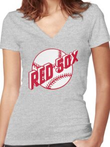 Boston Red Sox Old Logo Women's Fitted V-Neck T-Shirt