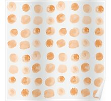 simple yellow watercolor dots pattern Poster