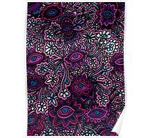 Pink, Purple, Blue Floral Print Poster