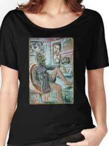 Lizard People Art Print Alien Base UFO Flying Saucer 70's 80's 60's female model cut and paste tapes computer 80's joe badon dress egg chair Women's Relaxed Fit T-Shirt