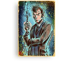 Dr Who David Tennant Art Print the doctor who bbc sci fi tenth doctor 10th time lord travel machine tardis space sonic screwdriver face bo Canvas Print