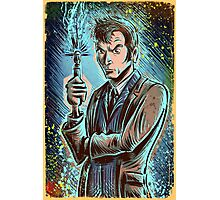 Dr Who David Tennant Art Print the doctor who bbc sci fi tenth doctor 10th time lord travel machine tardis space sonic screwdriver face bo Photographic Print