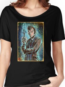 Dr Who David Tennant Art Print the doctor who bbc sci fi tenth doctor 10th time lord travel machine tardis space sonic screwdriver face bo Women's Relaxed Fit T-Shirt