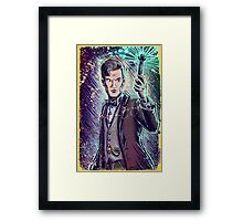 Dr Who Matt Smith Art Print the 11th doctor who BBC British Television Show Series bow tie sonic screwdriver fez joe badon science fiction Framed Print