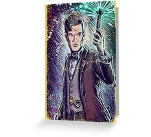 Dr Who Matt Smith Art Print the 11th doctor who BBC British Television Show Series bow tie sonic screwdriver fez joe badon science fiction Greeting Card