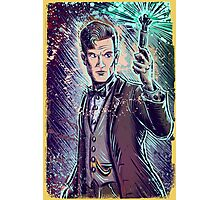 Dr Who Matt Smith Art Print the 11th doctor who BBC British Television Show Series bow tie sonic screwdriver fez joe badon science fiction Photographic Print