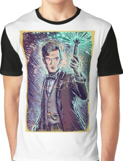 Dr Who Matt Smith Art Print the 11th doctor who BBC British Television Show Series bow tie sonic screwdriver fez joe badon science fiction Graphic T-Shirt