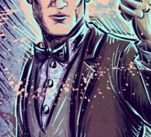 Dr Who Matt Smith Art Print the 11th doctor who BBC British Television Show Series bow tie sonic screwdriver fez joe badon science fiction Sticker