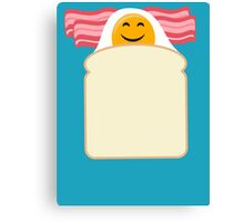 Good Morning Breakfast Cute Bacon and Egg T Shirt Canvas Print