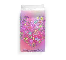 happy mothers day,floral,pink,purple,hearts,flowers,trendy,girly Duvet Cover