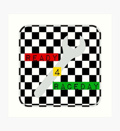 Black and White Check Checkered Flag Motorsports Race Day + Chess Art Print