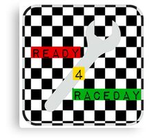 Black and White Check Checkered Flag Motorsports Race Day + Chess Canvas Print