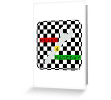 Black and White Check Checkered Flag Motorsports Race Day + Chess Greeting Card
