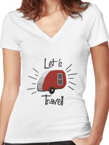 Retro Teardrop Camper  Women's Fitted V-Neck T-Shirt