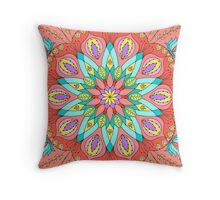 Multicolored floral mandala Throw Pillow