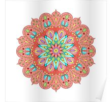Multicolored floral mandala Poster