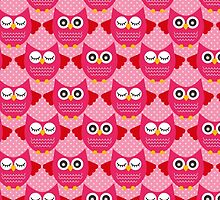 Retro Owls - bright pink by pugmom4