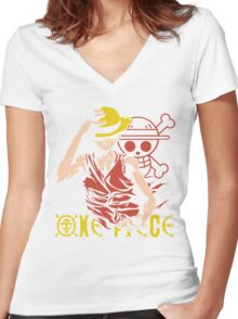 One Piece Monkey D. Luffy, Vector Anime Women's Fitted V-Neck T-Shirt