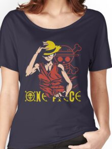 One Piece Monkey D. Luffy, Vector Anime Women's Relaxed Fit T-Shirt
