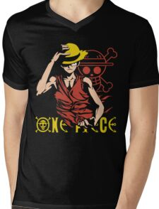 One Piece Monkey D. Luffy, Vector Anime Mens V-Neck T-Shirt