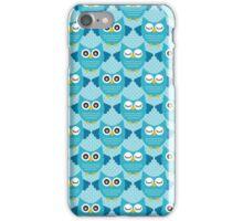 Retro Owls - Aqua Blue iPhone Case/Skin