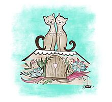 Vintage Cats in Love  Photographic Print
