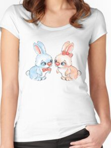 Cartoon rabbits / 6 / Boy and girl Women's Fitted Scoop T-Shirt