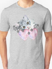 kitten and heart   Unisex T-Shirt