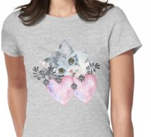 kitten and heart   Womens Fitted T-Shirt