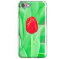 Red flower on green field iPhone Case/Skin