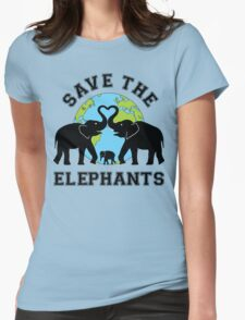 Save the elephant Womens Fitted T-Shirt