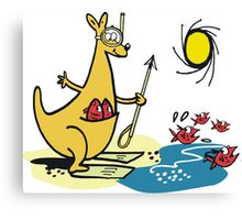 Cartoon kangaroo fishing with harpoon at beach Canvas Print