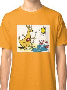 Cartoon kangaroo fishing with harpoon at beach Classic T-Shirt