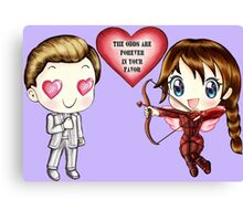 The Cute Version Of The Hunger Games (Love Themed Hand-Drawn Illustration) Canvas Print