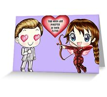 The Cute Version Of The Hunger Games (Love Themed Hand-Drawn Illustration) Greeting Card